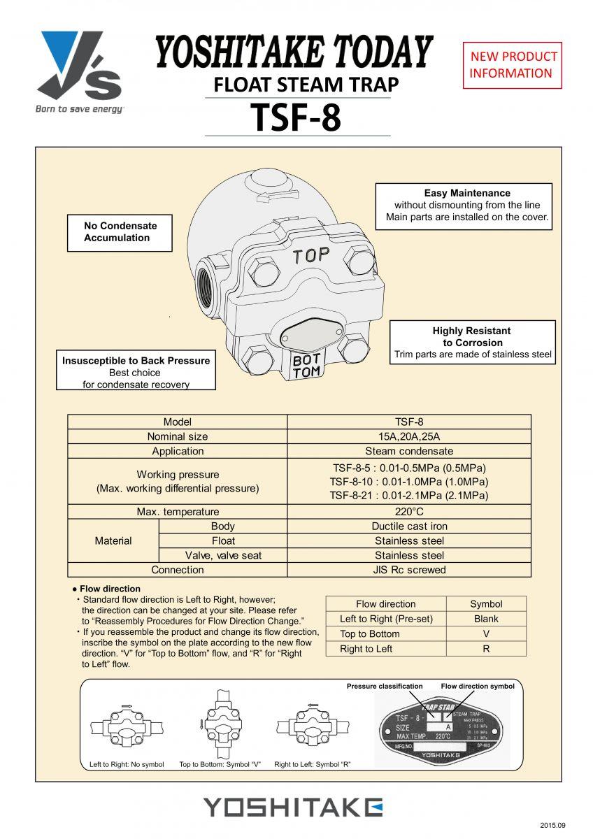 catalog bẫy hơi phao yoshitake tsf-8