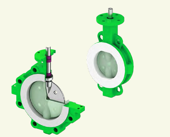 Wafer Type PFA lined butterfly valve0
